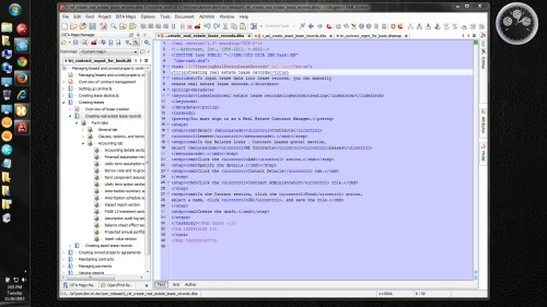Oxygen XML Author: Topic text view in blue