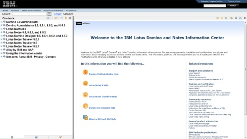 IBM Lotus information center
