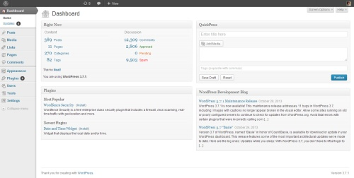 WordPress.org dashboard (Version 3.7.1)