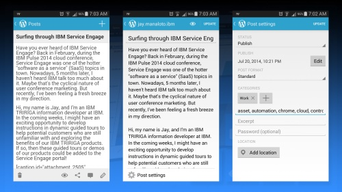 Editing a WordPress.com post with the WordPress mobile app