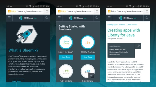 IBM Bluemix Docs (mobile)