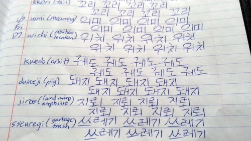 Hangul writing exercises