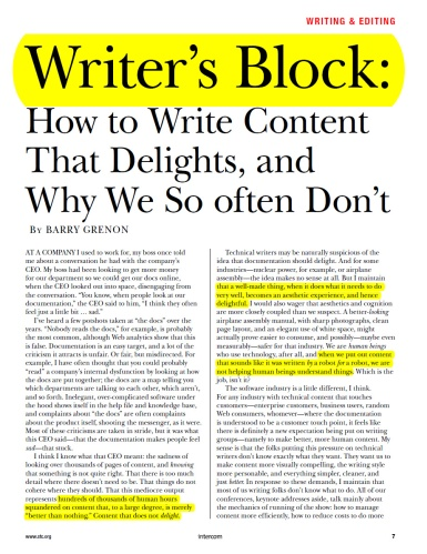 STC Intercom: Writer's Block